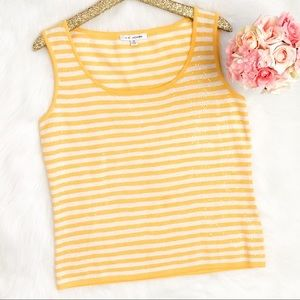 St. John Sparkly Yellow and White Striped Top